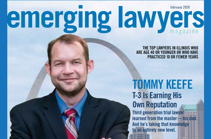 Emerging Lawyer Magazine featuring Belleville, IL Injury Lawyer Tom Keefe III standing in front of the St. Louis Arch